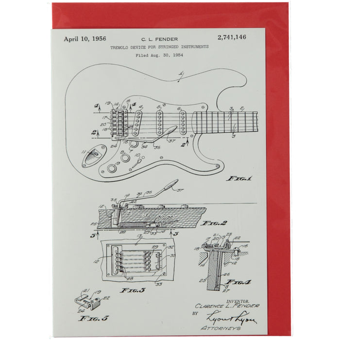 Acme Card Co Vintage 1956 Fender Guitar Patent Silk Greeting Card