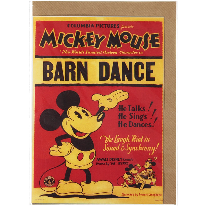 Acme Card Co Vintage Mickey Mouse Barn Dance Silk Greeting Card