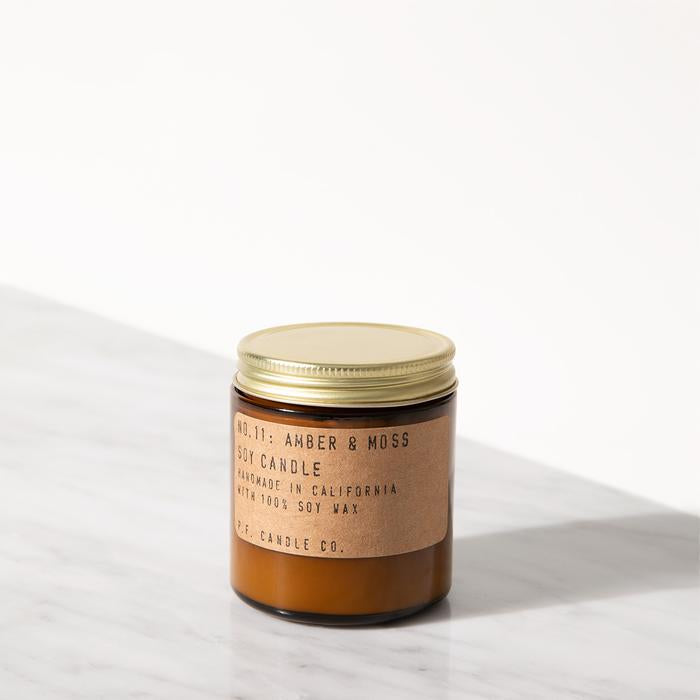 P.F. Candle Co. Mini 3.5 oz Soy Jar Candle No.11 Amber & Moss