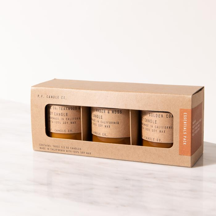 P.F. Candle Co. Essentials Triple Mini Soy Jar Candle Gift Set