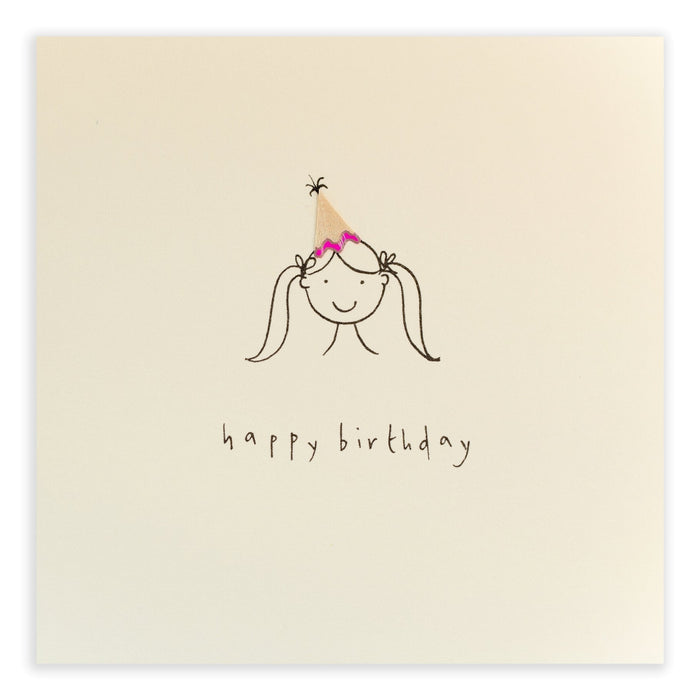 Ruth Jackson Pencil Shavings Greetings Card Birthday Hat Girl
