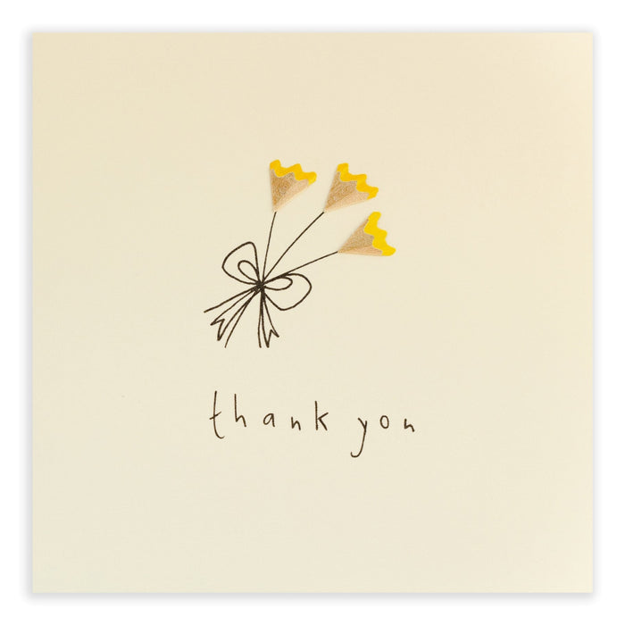 Ruth Jackson Pencil Shavings Greetings Card Thank You Flowers