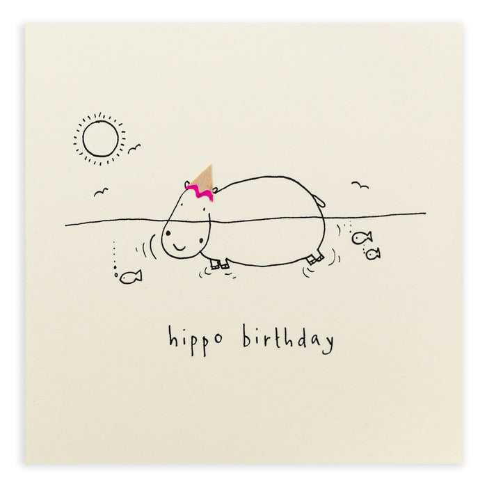 Ruth Jackson Pencil Shavings Greetings Card Birthday Hippo