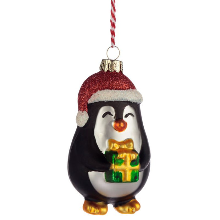 Christmas Glass Bauble Decoration - Penguin With Present