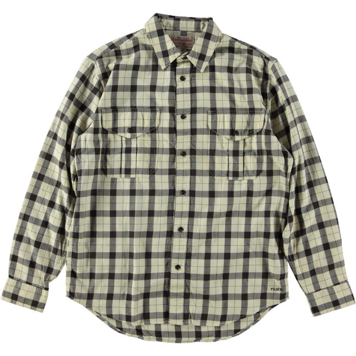 Filson Light Weight Alaskan Guide Shirt Cream Deep Brown