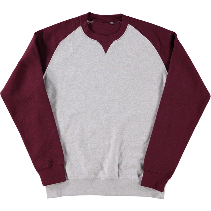 Russell Authentic Baseball Sweatshirt Oxford Grey Burgundy Melange