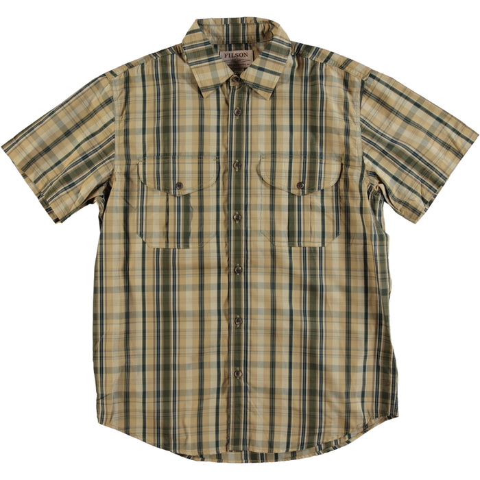 Filson Showroom Sample - Size M - Filson Short Sleeve Feather Cloth Check Shirt Khaki Olive Blue Plaid