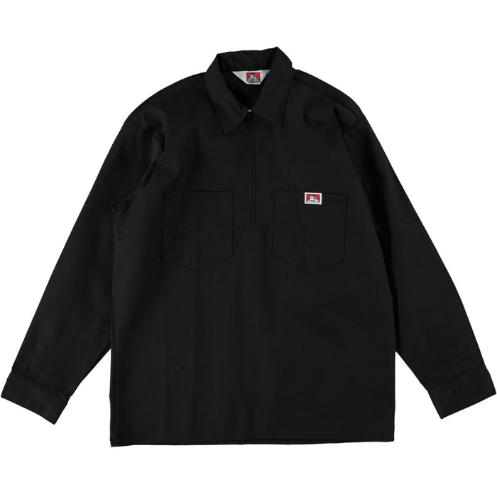Ben Davis Long Sleeve Half Zip Work Shirt Solid Black