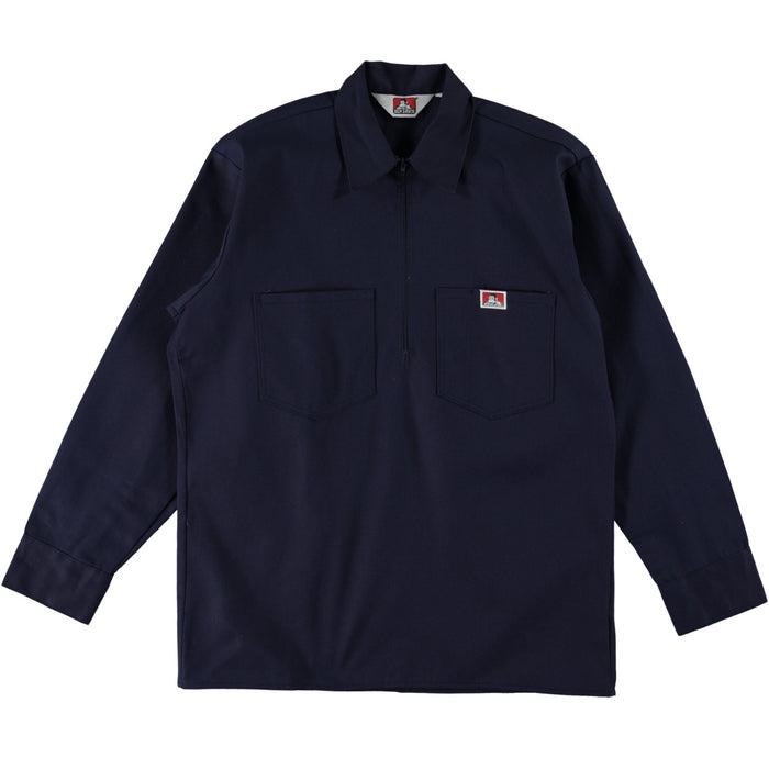 Ben Davis Long Sleeve Half Zip Work Shirt Solid Navy