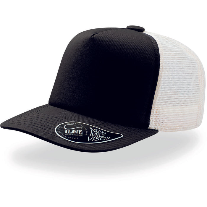 Atlantis Record Mid Visor 5 Panel Trucker Cap Black