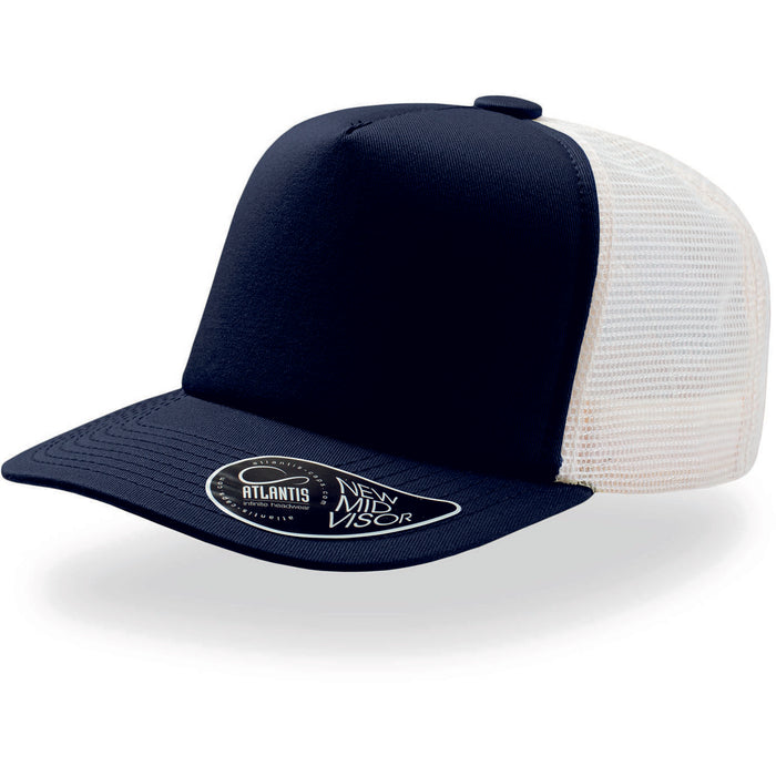 Atlantis Record Mid Visor 5 Panel Trucker Cap Navy