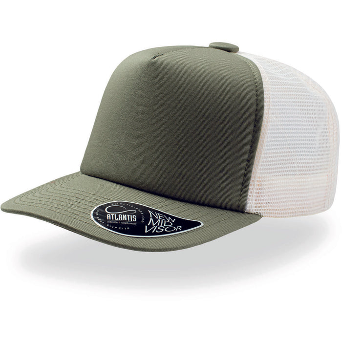 Atlantis Record Mid Visor 5 Panel Trucker Cap Olive Green