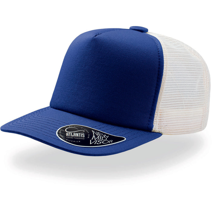 Atlantis Record Mid Visor 5 Panel Trucker Cap Royal Blue
