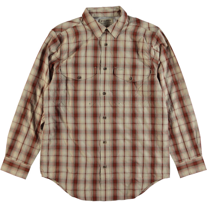 Filson Showroom Sample - Size M - Filson Long Sleeve Twin Lakes  Sports Shirt Burgundy Cream