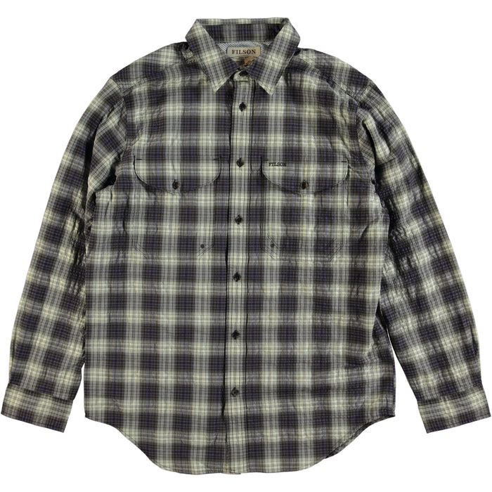 Filson Showroom Sample - Size M - Filson Long Sleeve Twin Lakes Sports Shirt Dark Brown Cob Purple Check