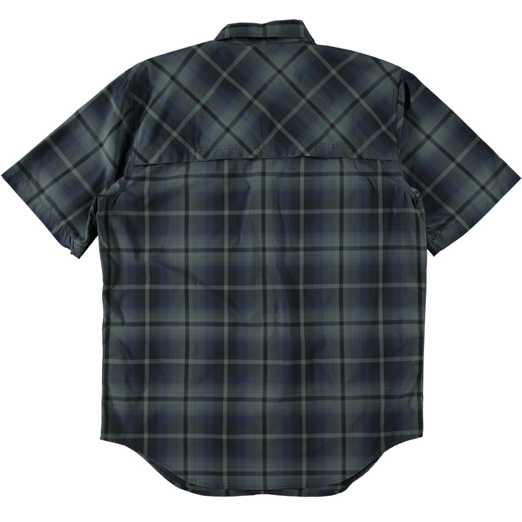 Filson Twin Lakes Short Sleeve Sport Shirt Navy Grey Plaid