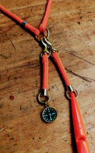 The Upland Lanyard bird hunting gear; detail Compass and Whistle