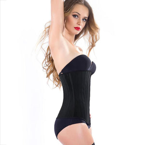 JYY Premium 100% Latex 25 bones Waist Trainer long - Black
