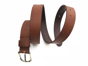 Craigie&Co Genuine Buffalo Leather Belt - Brown, 30mm wide Single Pin Buckle