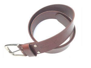 Craigie&Co Genuine Buffalo Leather Belt - Mahogany, 40mm Wide Single Pin Buckle, Exchangeable Buckle