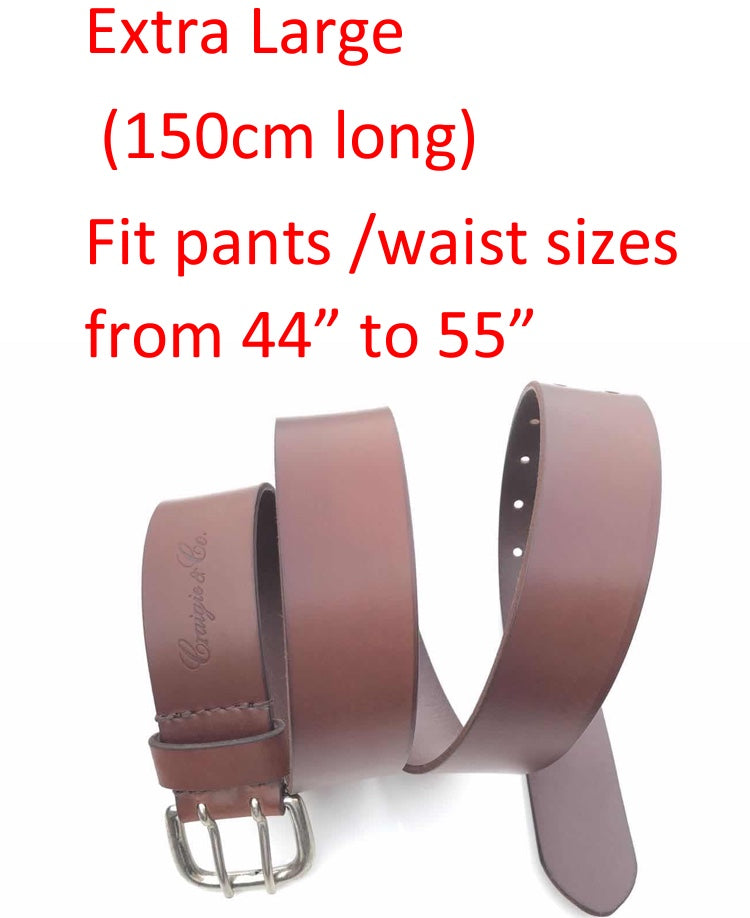 Craigie&Co Genuine Buffalo Leather Belt - Mahogany, 40mm Wide Double Silver Pin Buckle