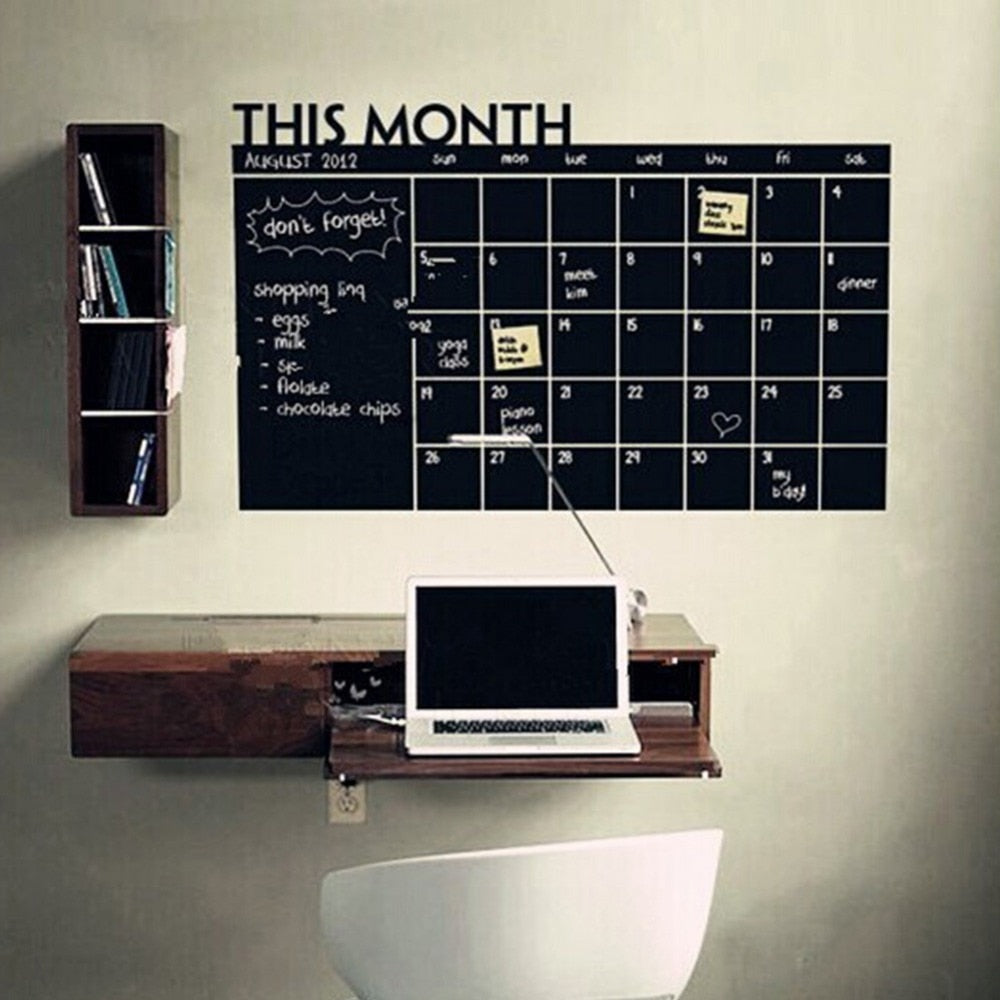 Wall Sticker Monthly Plan Calendar Chalkboard Stickers MEMO Blackboard Vinyl Study Room Wall Stickers for kids Room DIY poster
