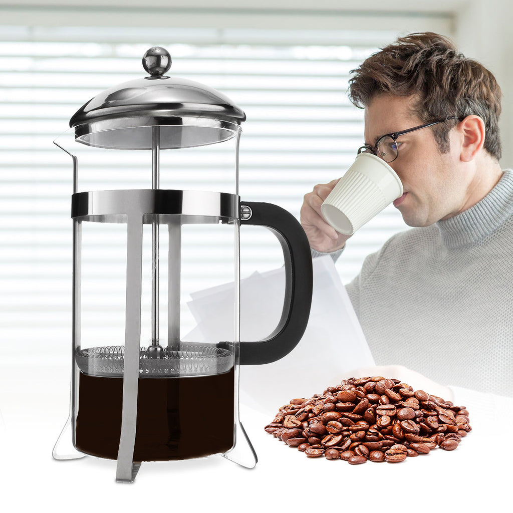 1000ml Office Glass Stainless Steel Cafetiere Coffee Maker Machine Press Filter