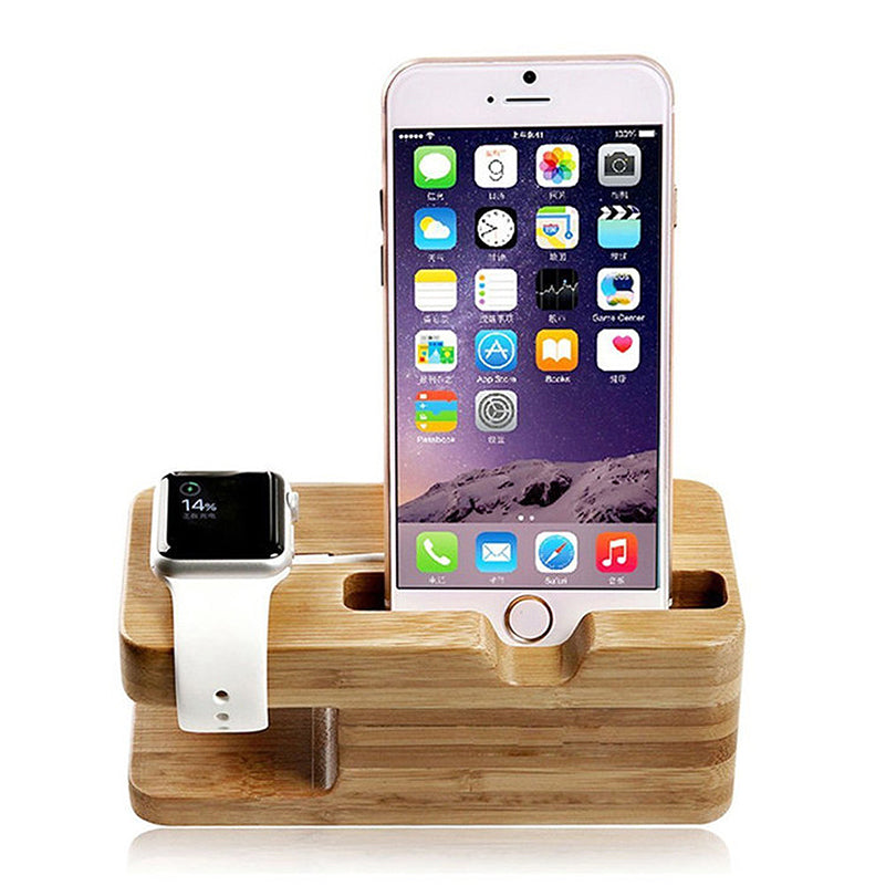 2018 Bamboo Wood Phone Holder Charger Stand For iPhone X 8 6 7 plus Charging Station For Apple Watch Charging Dock Phone Holder