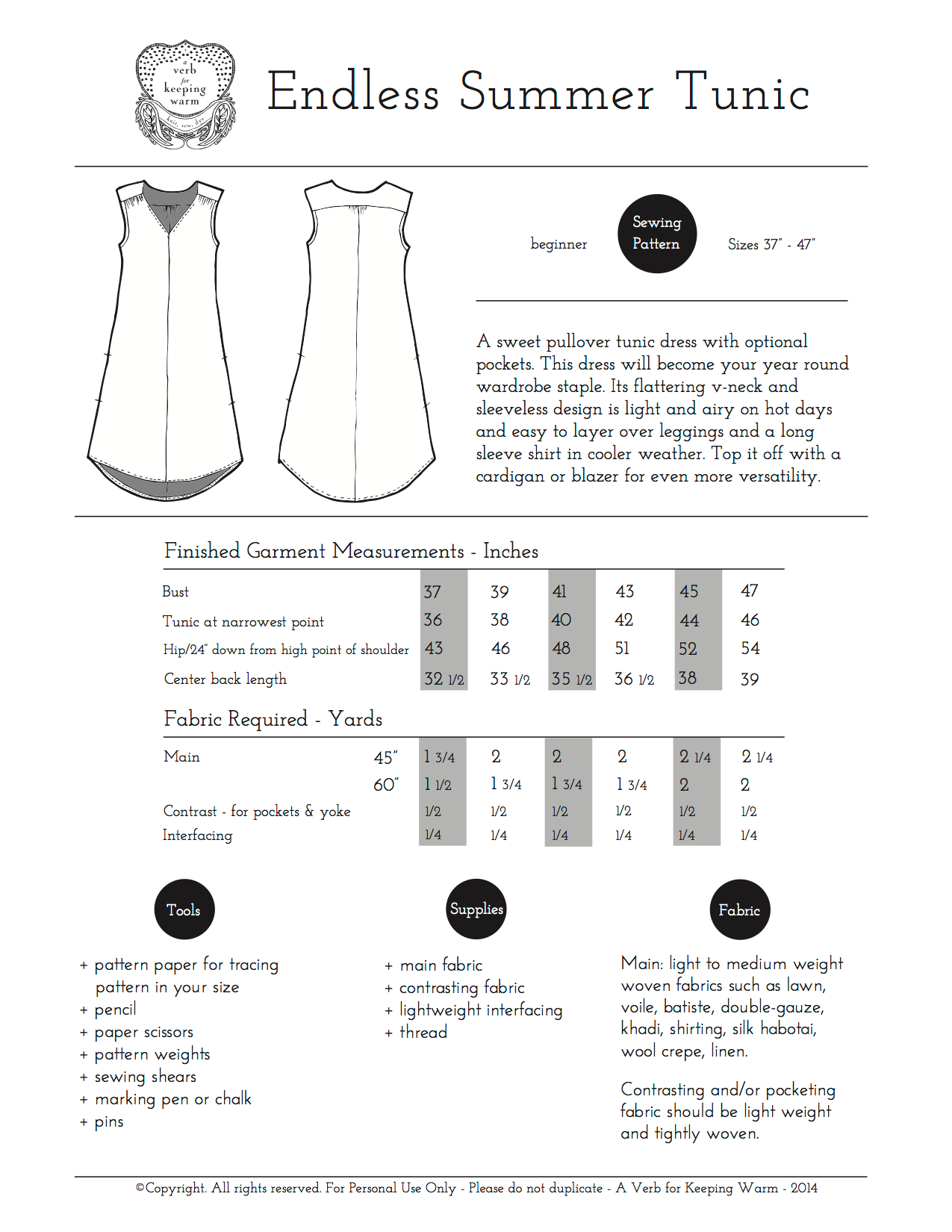 42fe26208c3 A Verb for Keeping Warm — The Endless Summer Tunic Pattern - PRINTED