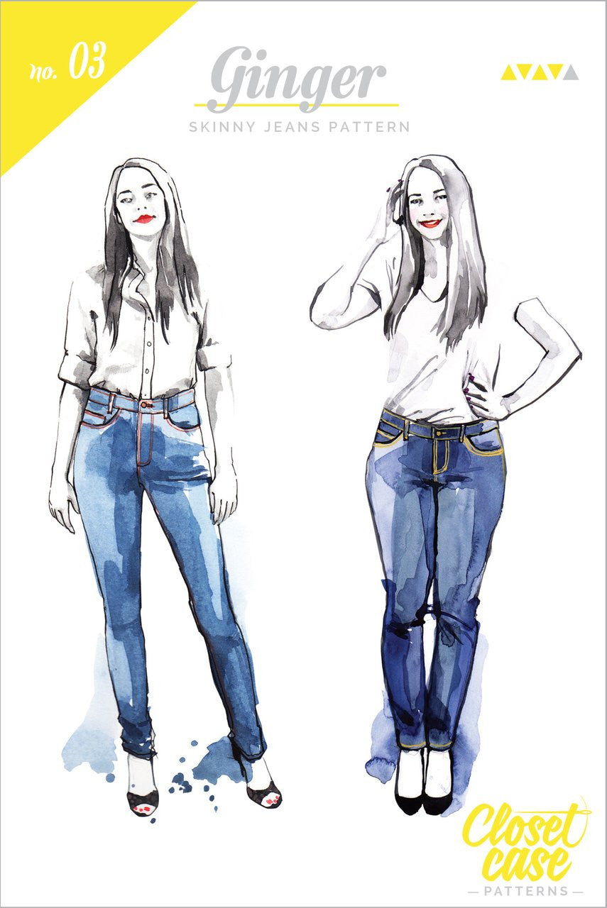 Ginger Skinny Jeans Pattern from Closet Case Patterns - PRINTED