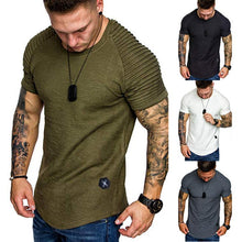 Load image into Gallery viewer, Shoulder Pleated Design Round Neck Short-Sleeve T-Shirt - Kikiboom online store