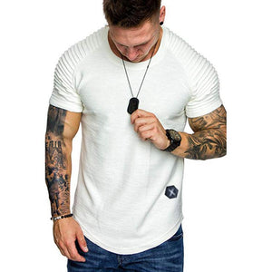 (MORE CHEAPER THAN OTHER STORE !!! ) Shoulder Pleated Design Round Neck Short-Sleeve T-Shirt