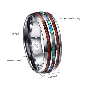 Hawaiian Koa Wood and Abalone Shell Tungsten Carbide Custom Made Titanium Ring