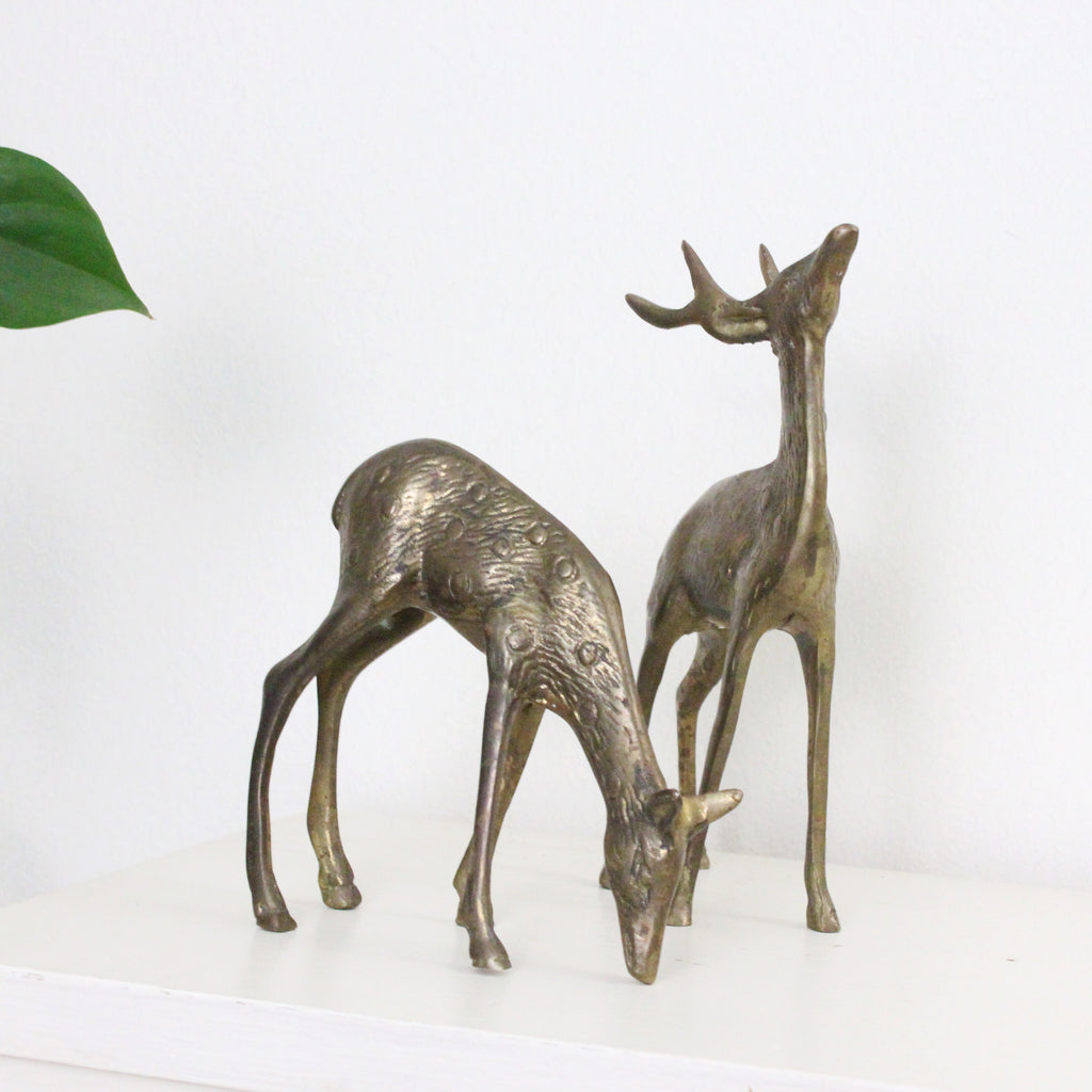 Small Brass Deer Figurines- Set of 2