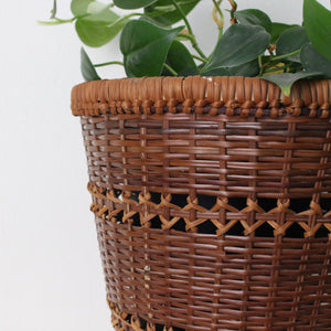 Dark Wicker Woven Planter Basket