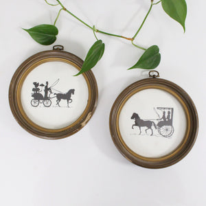 Round Vintage Scene Silhouette Pictures- Set of 2