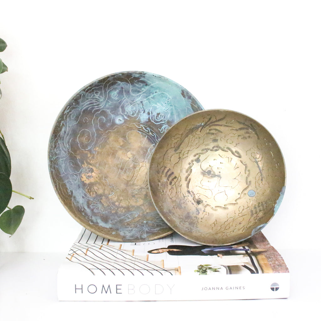 Vintage brass etched decorative bowls