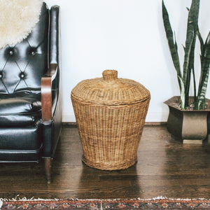 Natural Woven Floor Basket with Lid