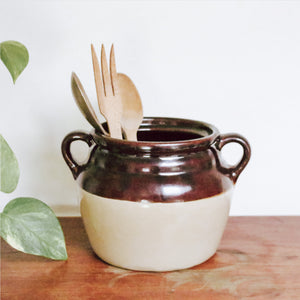 Two-Toned Vintage Ceramic Crock with Handles