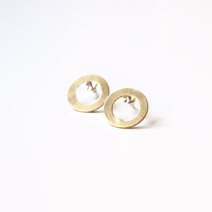 Circle Brass Post Earrings
