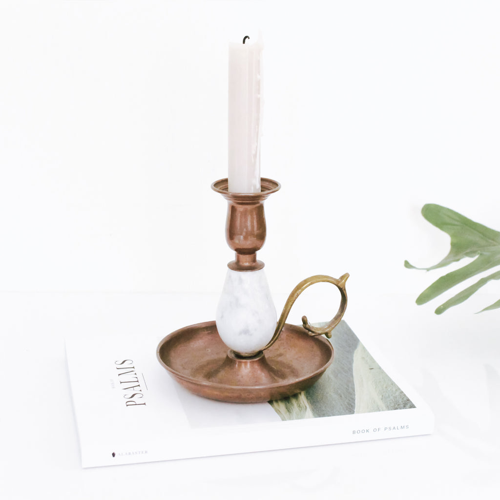 Copper and Marble Candle Holder