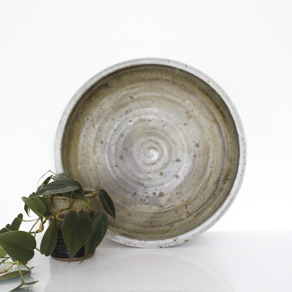 Glazed Vintage Shallow Serving Bowl