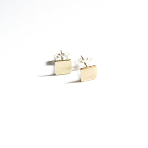 Square Brass Post Earrings