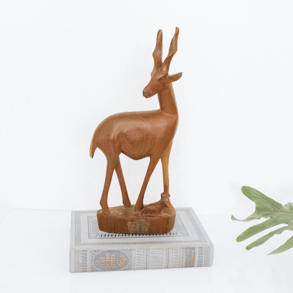 Wooden Antelope Carved Figurine