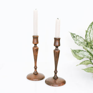 Vintage Wooden Candle Holders- Set of 2