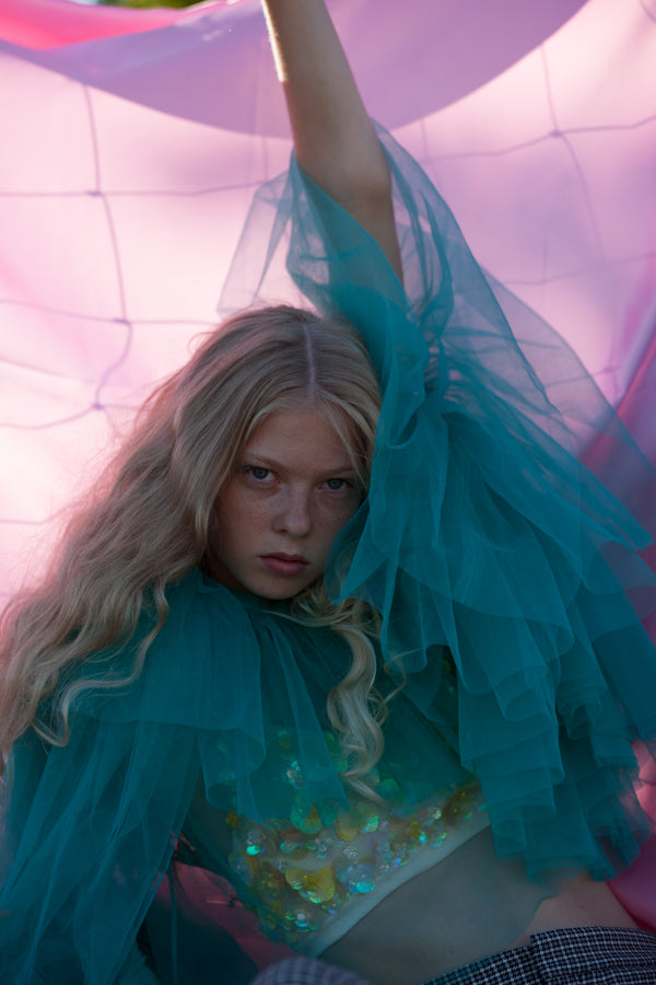 Editorial at Vein magazine featuring the tulle dresses by BONDY
