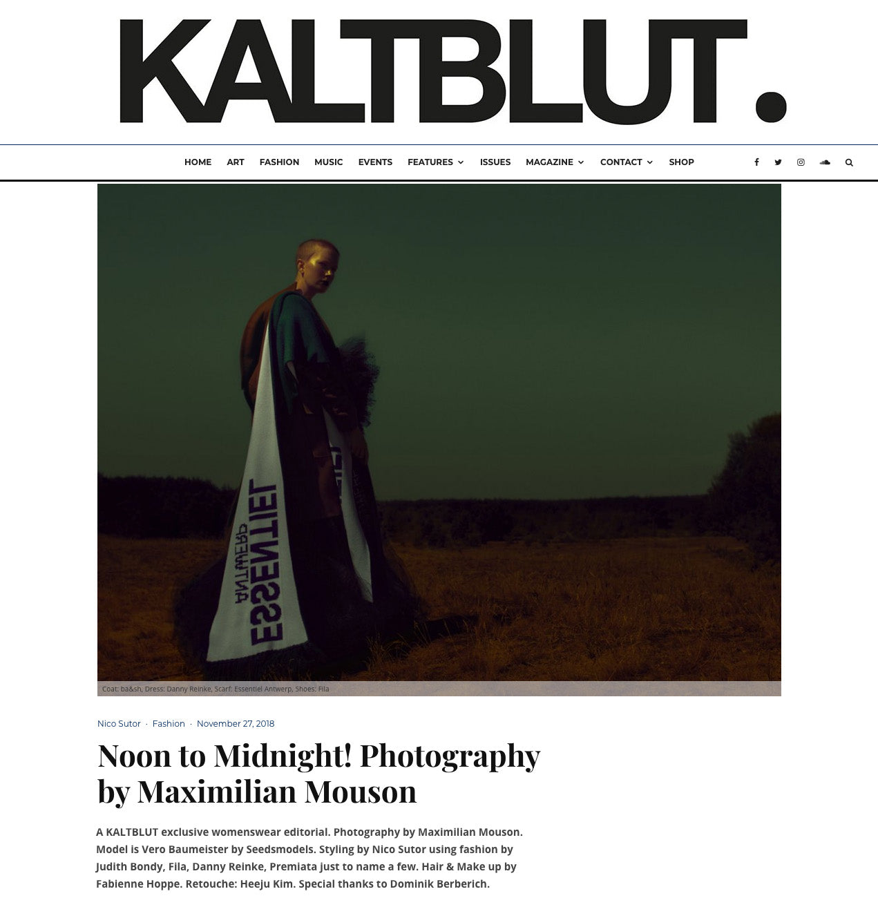 Kaltblut fashion magazine featuring some of BONDY s pieces