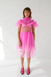 Milky fluo pink dress with victorian high neck, short sleeves and double layered skirt detail