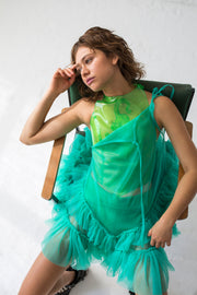 Mini strap A line dress in milk emerald color and double ruffled hemline
