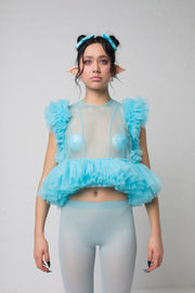 fashion brand BONDY photoshoot showcasing handmade FLEUR ice blue cropped, sheer ruffle 100% tulle top shown on a size small, part of the new collection DREY:MA. front view